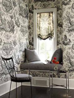 black and white room decor with window seat