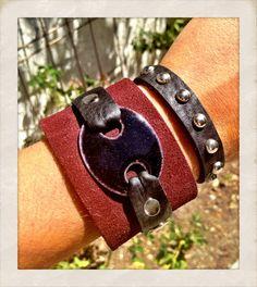 Black Copper Enamel leather cuff Maroon leather cuff by TornTo, $59.00