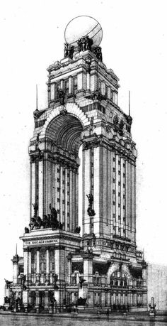 archiveofaffinities:Saverio Dioguardi, Entry to the Chicago Tribune Tower Competition, 1922