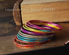 Wholesale 60pcs/lot Indian Alloy Six Colors Bangle Jewelry-in Wholesale from Jewelry on Aliexpress.com