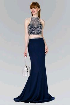 Navy 2 piece long prom dress gl2424 – Simply Fab Dress Stylish Dresses 12d6114b0