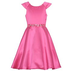 A fashionable and delicate Christmas dress that your girl will surely enjoy wearing by Rare Editions. It features cap sleeves, pretty magenta color, a flared skirt . The glittery jewels attached at waist add a glam touch. It is bow accented at the back. T