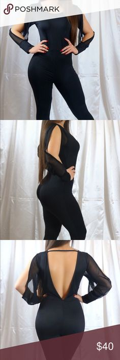 Miss Attractive Jumpsuit Slim Black Solid Jumpsuit   Long Split Sleeve  Mesh Patchwork Playsuit Bodycon  Backless  Material Rayon,Silk,Mesh  Fabric Type:Broadcloth  Sorella's Style 💋 Label & tag Other