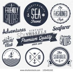 Collection of  Vintage Nautical Badges and Labels in Retro Style
