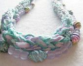 Fiber Necklace Beaded Frosty Pastel mint and violet by SoftJewelry, $30.00