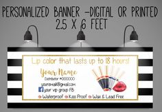 719cfdd16d0d23 Digital or printed Lips Distributor Banner, 6x2.5 feets- Great for Events-.  Zibbet