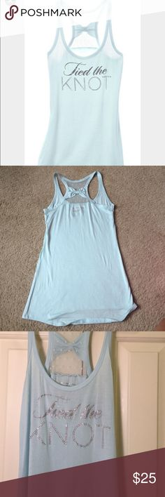 Victoria's Secret tied the knot tank Perfect condition. Glitter/rhinestones. Bow on back. Smoke free pet free home. Victoria's Secret Tops Tank Tops