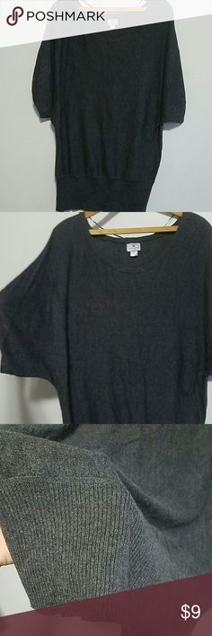 "Gray Dolman Tunic Sweater Gray lightweight sweater. Dolman style sleeves. 3"" ribbing along bottom. About thigh length. Never worn. Worthington Sweaters Crew & Scoop Necks"