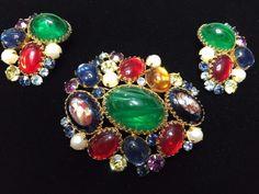 Alice Caviness Brooch Earring Art Glass Flawed Emerald Rhinestone Cabochon Rare #AliceCaviness