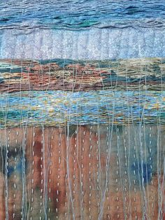 Untitled - work in progress by by Fi Fiona Rainford Recycled fabrics and hand stitch Fiber Art Quilts, Creative Textiles, Weaving Textiles, Japanese Embroidery, Hand Art, Fabric Manipulation, Textile Artists, Fabric Art, Embroidery Stitches