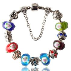 European Charm Bracelets For Women Fashion Silver Plated of Daisies Classic Murano Glass Beads Bracelet Jewelry