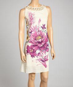 Look at this #zulilyfind! Crème & Purple Floral Yoke Dress - Women & Plus by Phool Fashion #zulilyfinds
