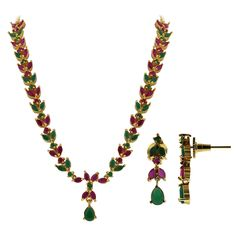 Gold Plated Ruby & Emerald Stones Indian Ethnic Necklace Earrings Set