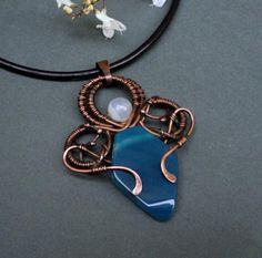 collar de cobre y piedras naturales  cobre,agata,cuero wire wrapped,alambrismo