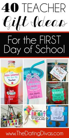 Gift Ideas For Any Time of Year - The Dating Divas 40 Easy and Creative Teacher Gift Ideas for the First Day of School! teacher gifts, gift ideas for Easy and Creative Teacher Gift Ideas for the First Day of School! teacher gifts, gift ideas for teachers Back To School Teacher, 1st Day Of School, Beginning Of School, School Fun, School Days, School Staff, High School, Back To School Gifts For Kids, Pre School