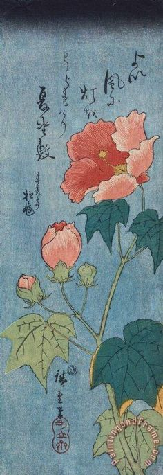 Flowering Poppies Tanzaku Painting by Ando Hiroshige
