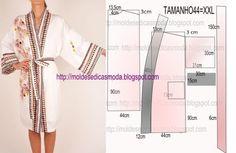 Robe feminino manga longa com passo a passo de corte e costura