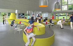 Free School of Bornholm, Denmark. Love all the curvy spaces - encourages creative thinking! Cafeteria Design, Kids Library, Library Design, School Architecture, Interior Architecture, Inspired Learning, Function Room, School Furniture, Learning Spaces
