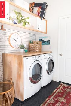 The laundry room is a humble space, but it's also a hardworking one. And if you're going to spend time in there washing your clothes, shouldn't it be a place you enjoy? Mandi from Vintage Revivals recently shared the transformation of her laundry room, which went from a boring, standard-issue builder grade space with not much going for it to a very lovely (and very efficient) space where anyone would love to wash clothes.