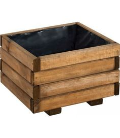 Wayford 'Dark' Planter (27 litres) - A planter of simplistic and practical design, the Wayford 'Dark' planter is a 27 litre small square planter that has been tinted brown to create a stylish appearance. A very useable size for gardeners wanting a container for plants such as Geraniums, small Dahlias and Fuchsias. (H:265mm W:400mm D:400mm)