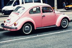 Similar to my very first VW Beetle -- refurbished and painted light pink by my dad!   #volkswagen