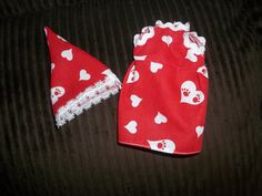 Christmas Elf doll dress and hat red with white Hearts on it by on Etsy Christmas Elf Doll, Drink Sleeves, Hearts, Dolls, Trending Outfits, Unique Jewelry, Handmade Gifts, Red, Vintage