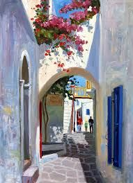 Mykonos Archway Canvas Print / Canvas Art by Roelof Rossouw Diy Canvas Art, Acrylic Painting Canvas, Fine Art Amerika, Greece Painting, Beautiful Paintings, Painting Inspiration, Watercolor Art, Art Drawings, Canvas Prints