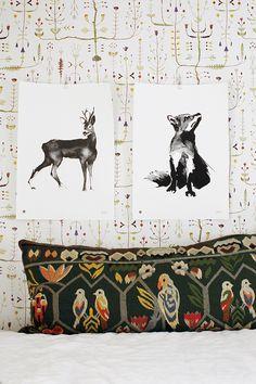 Susanna Vento for Teemu Järvi Illustrations Interior Wallpaper, Home Wallpaper, Wall Art Prints, Fine Art Prints, Poster Prints, Posters, Wood Poster Frames, Fox Squirrel, Turbulence Deco