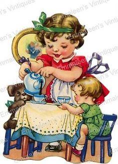 ~Vintage Shabby Retro Little Girl Tea Party Waterside Decals~ KID491