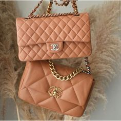 Chanel 2.55 and Chanel 19 bags Luxury Bags, Luxury Handbags, Designer Handbags, Haute Couture Fashion, Couture Style, Moschino Bear, Chanel 19, Birkin, Camel