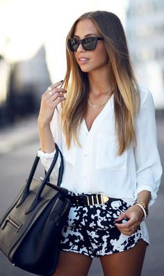 Pretty white blouse with cute shorts and a classic black bag and sunglasses
