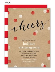 Cheerful Holiday Dots Invitation by Noteworthy Collections - Invitation Box - Protpin! Christmas Cocktail Party, Office Christmas Party, Christmas Flyer, Christmas Events, Christmas Cocktails, Christmas Birthday, Holiday Parties, Holiday Cards, Christmas Holidays