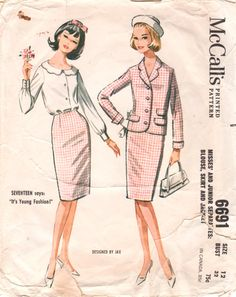 McCalls 6691 1960s Misses Designer Jax Blouse Skirt and Jacket by mbchills, scalloped collar blouse womens vintage  sewing pattern