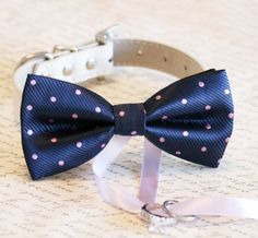 Navy and Lavender Dog Bow Tie Dog ring bearer Pet by LADogStore