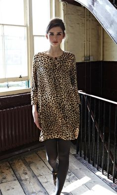 Leopard dress with black tights