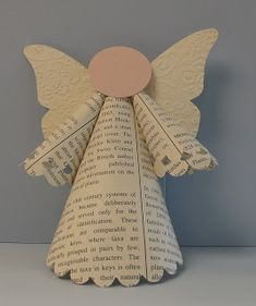 Our church always does an Angel Tree and I have made the angels for the past 8 years. I consider it not only an honor but. Handmade Christmas Decorations, Christmas Ornament Crafts, Holiday Crafts, Christmas Crafts, Paper Ornaments, Angel Ornaments, Paper Angels Diy, Christmas Tree Angel, Handmade Angels