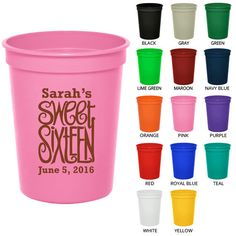 16 oz Birthday Stadium Cups (Clipart 19063) Sweet 16 - Party Favor Cups - Birthday Party Cups - Personalized Birthday Favors