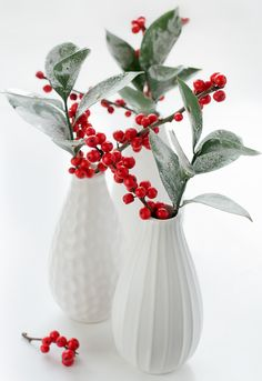Red Berries in White Vases - 5 Quick Christmas Decorations Christmas Vases, All Things Christmas, Christmas Wedding, Winter Christmas, Christmas Holidays, Christmas Crafts, Christmas Decorations, Wedding Decorations, Elegant Christmas
