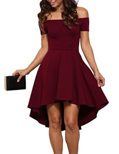 Sarin Mathews Women Off The Shoulder Short Sleeve High Low Cocktail Skater Dress Burgundy S - Party Dresses - Ideas of Party Dresses - Plus Size Maxi Dresses, Short Sleeve Dresses, Skater Dresses, Short Sleeves, Skater Skirt, Cheap Dresses, Flared Skirt, Short Red Dresses, Long Dresses