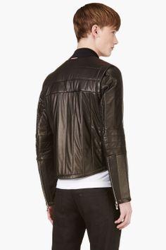 MONCLER GAMME BLEU Black Leather Quilted Jacket