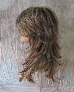 Long Wig Choppy Layers Lots of Motion Auburn, Ginger and Pale Blonde Shag