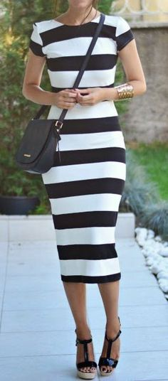 Street fashion tea length striped flattering dress | Just a Pretty Style