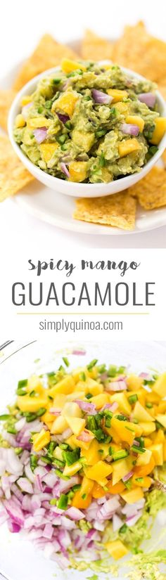 SPICY MANGO GUACAMOLE -- this recipe is a quick and easy spread that goes with everything. Use it on top of burgers, dip with chips or spread it on some toast! Simply Quinoa #guacamole #mangoquacamole #diprecipe #spicydip #mango #spicy