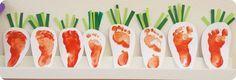 Osterbastelei für Kleinkinder ~ Fußabdruck Möhrchen Footprint idea / fraukskleinewelt.blogspot.de