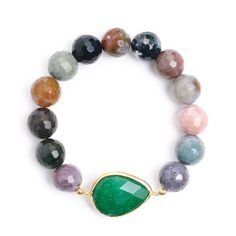 Feels great, wear with everything: Greenwich Collection Agate Bracelet with Emerald.
