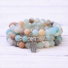Amazonite Hamsa Mala Bracelet Necklace - Paybackgift Hamsa, Beaded Bracelets, Gemstones, Beads, Pendant, Jewelry, Products, Bangle Bracelets, Beading