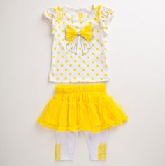 Toddler Polka Dot with Bow Trim Outfit.
