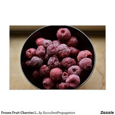Frozen Fruit Cherries In A Black Bowl Photograph