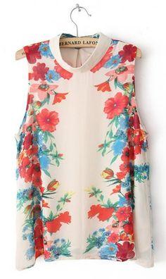 Sleeveless vintage print chiffon blouse D9920016