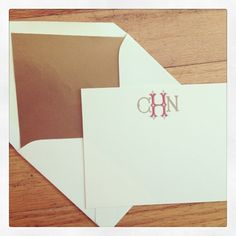 Celebrating #MonogramMonday with these super chic notecards paired with gold-lined envelopes I Custom by Nico and Lala